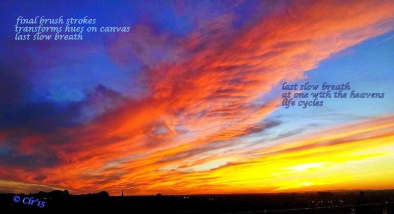 sunset double haiga